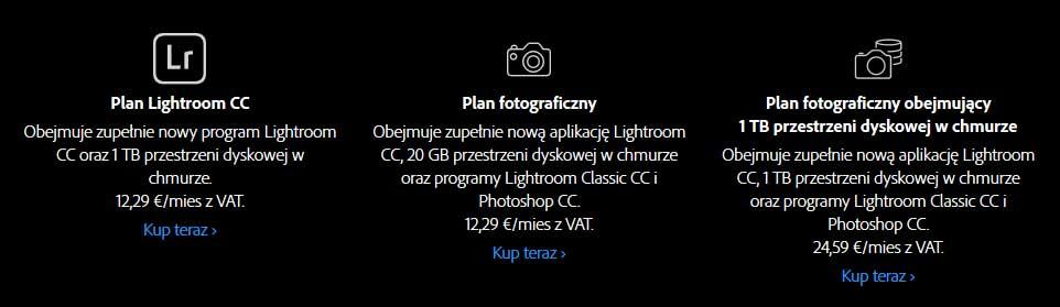 Porównanie planów Adobe CC Photoshop Lightroom CreativeCloud