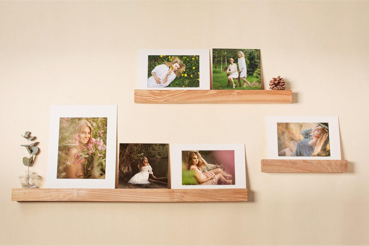 drewniane półki na zdjęcia