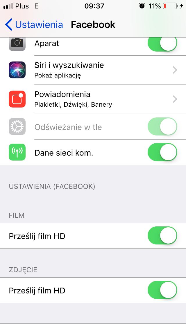 ustawienia aplikacji Facebook