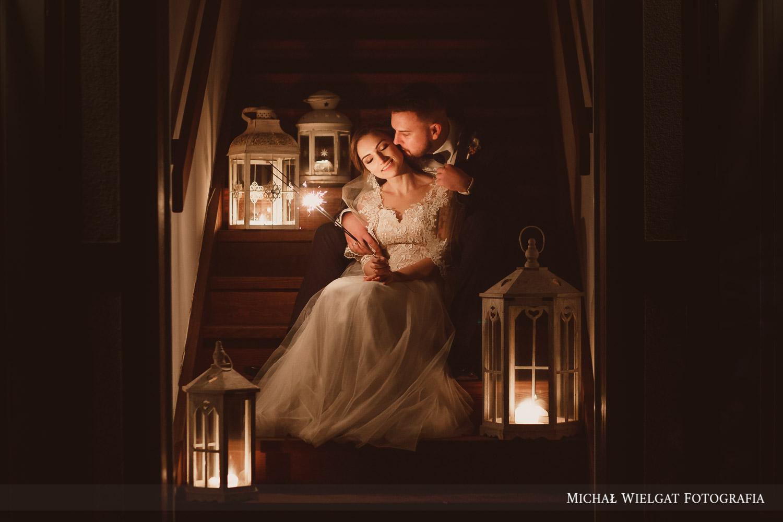 zdjęcie ślubne Dworek Golikowo zimne ognie